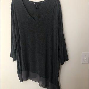 Lane Bryant Asymmetrical 3/4 inch sleeve top